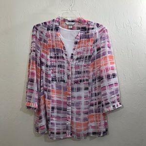 1X CJ banks purple coral and pink 2 piece shirt.